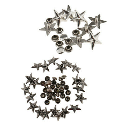40 Pieces Star Rivets Studs Metal Spikes for Leather Bag Shoes Craft 13mm