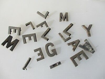 "Vintage Brass Letters Machine Door Sign Antique Old Job Lot Bulk Letter  1.75""H"