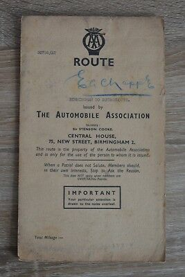 VINTAGE AA Route Map Tour From Kidderminster to Sheffield Circa ...