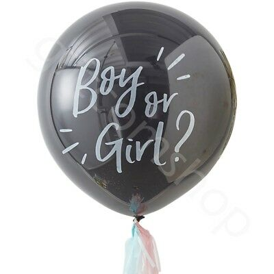 "OH BABY! Giant 36"" Gender Reveal Black Boy or Girl Confetti Balloon With Tassels"
