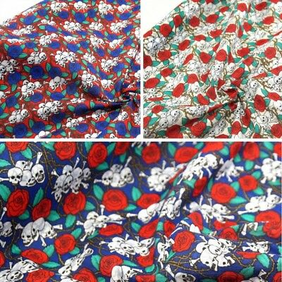 Polycotton Fabric Small Bunched Skulls and Thorn Roses Material