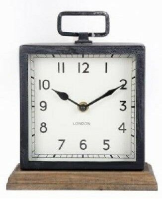 Square Wooden Base Metal Clock Free Standing Mantle Table Desk Home Office Decor