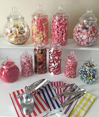 Plastic Victorian Style Sweet Jars for DIY Candy Buffet Wedding/Party LARGE KIT