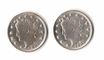 1885-1886 Liberty V Nickel Two Face Novelty Trick Fantasy Coin Magic Two Heads