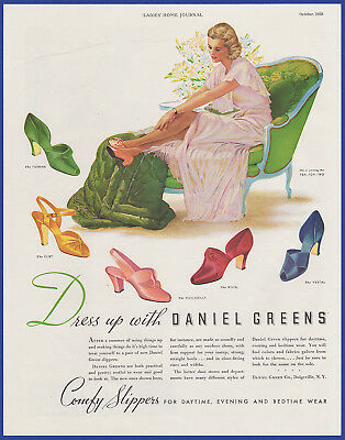Vintage 1938 DANIEL GREEN Comfy Slippers Shoes Women's Fashion Print Ad 1930's