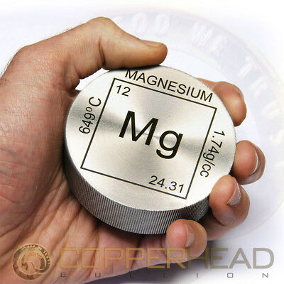 "1 x 5 oz ounce (142g grams) .999 Fine Magnesium Bullion Coin 3"" Element Round"