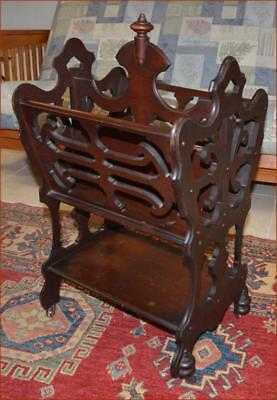 Captain F.A.Hinmans 1880s Victorian Magazine Stand Fancy Walnut Original Finish