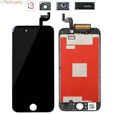 Touch Screen Lcd Display Retina Per Apple Iphone 6S Vetro Schermo Nero + Frame