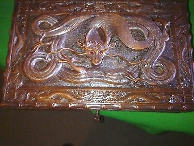 dragon box, carved, oriental, jewellery box, antique or vintage