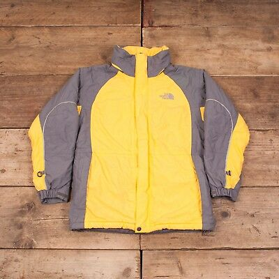 Boys Vintage North Face Yellow Padded Hooded Coat Jacket Large R7914