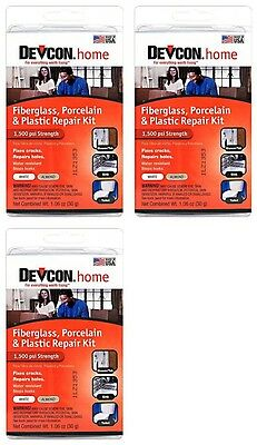 (3)Devcon 90216 Epoxy Fiberglass Porcelain Bathtub Repair Kit White/Almond *