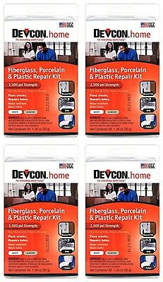 (4)Devcon 90216 Epoxy Fiberglass Porcelain Bathtub Repair Kit White/Almond *