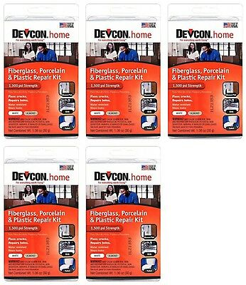 (5) Devcon 90216 Epoxy Fiberglass Porcelain Bathtub Repair Kit White/Almond