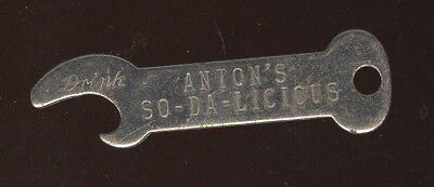 Rare 1930S Metal Bottle Opener, Anton's So-Da-Licious Advertising