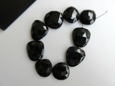 5 Pieces Black Onyx Center Side Drilled Rose Cut Flat Back Cabochons - GDS869