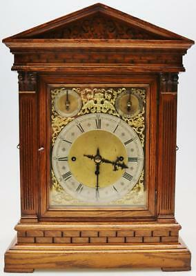 Antique W & H Carved Oak Architectural Triple Fusee Musical 5 Gong Bracket Clock