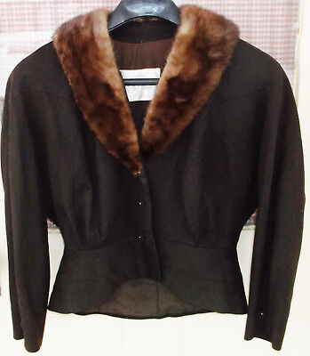 Vintage Women's Brown Wool Peplum Jacket With Mink Fur Collar Size Small