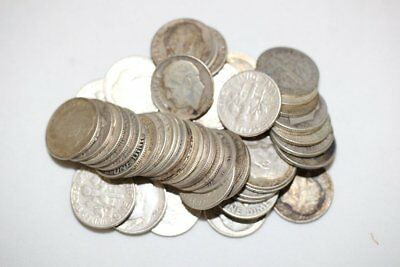 Roll of Roosevelt Dimes 90% Silver 5$ Face Value 50 Coins