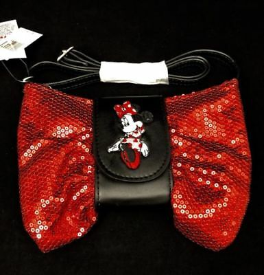 Disney Parks Exclusive Minnie Mouse Red Glitter Sequin Bow Shoulder Bag Purse