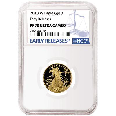 2018-W Proof $10 American Gold Eagle 1/4 oz NGC PF70UC Blue ER Label