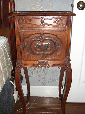 Antique night stand table Oxblood top louis XV style