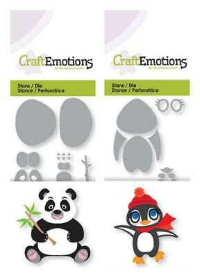 Stanzschablone CRAFTEMOTIONS Tiere 3D PANDA + PINGUIN