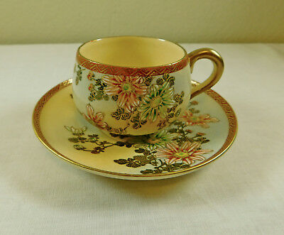 h) Antique Vintage Signed Japanese Satsuma Pottery Hand Painted Cup & Saucer