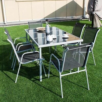 Outdoor Garden Patio Furniture 7 Piece set Steel Chairs Tempered Glass Top Table