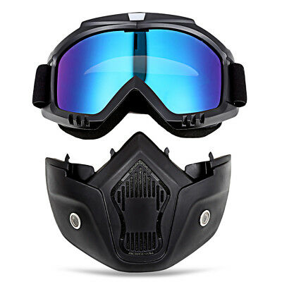 Motorcycle Goggles with Mask and Mouth Filter Protect Padding Helmet Sunglasses