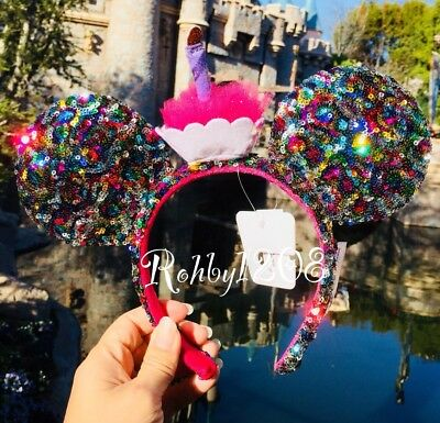 Disney Parks Birthday Candle Cupcake Pink Rainbow Sequin Mickey Minnie Ears
