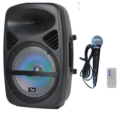 "YLT Audio 8"" Portable Active DJ PA Rechargeable Speaker Bluetooth USB SD w/ Mic"