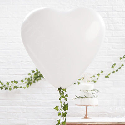 Pack of 3 Large White Heart Shaped Latex Party Balloons Decoration Mothers Day