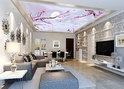 3D Pink Flowers Tree Moon 53 Ceiling Wall Paper Print Wall Indoor Wall Murals CA