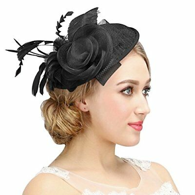 Womens Feather Mesh Net Sinamay Fascinator Hat With Hair Clip Wedding Tea Party