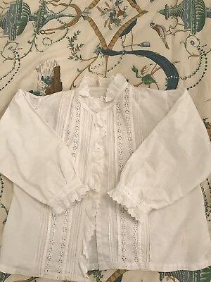 Antique 1880 French Victorian Top/blouse/jacket Hand Embroidered White Cotton