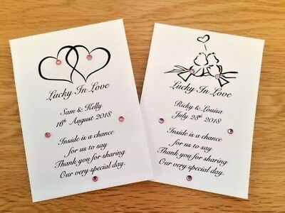 10 Personalised Wedding Favour/Engagement lottery ticket/ £1 Scratch Card holder