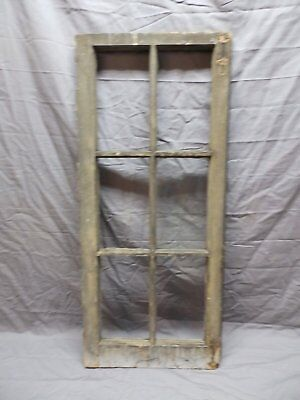 Antique Vtg Wood 6 Lite Pane Casement Window 38x17 Cabinet Door Old 570-18P