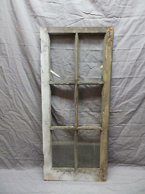 Antique Vtg Wood 6 Lite Pane Casement Window 38x17 Cabinet Door Old 571-18P