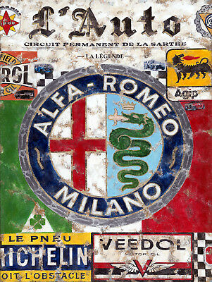 Metal Vintage Shabby-Chic Alfa Romeo Plaque/fridge Magnet