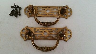 Pair antique Victorian cast brass drawer pulls w/ screws all original (120HC)