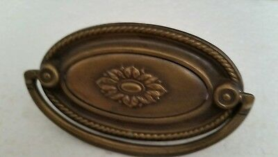 Nice vintage antique oval metal drawer pull handle with screw (#23H)