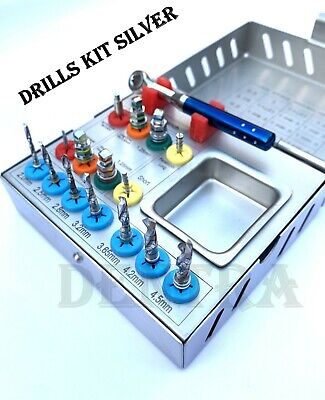 Dental Surgical Drill Kit 16 Pcs Set Implant Instrument Tools Ratchet New