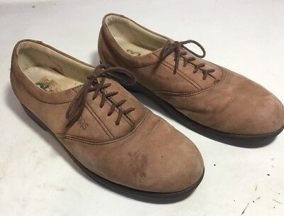 Sas Womens Brown Suede Leather Oxfords Lace Up Shoes Loafers Sz 6 M