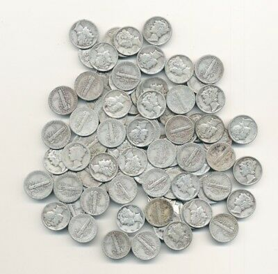 Lot Of (100) Mercury 90% Silver Dimes Exact Shown Opens At .99C - Free Shipping
