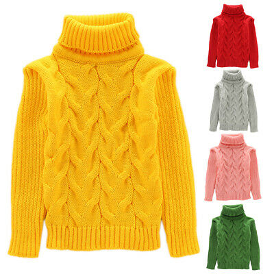 IT- Kids Baby Boy Girl Solid Winter Warm Turtle Neck Knitted Sweater Pullover Wi