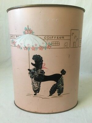 Ransburg Pink Metal Trash Can Black French Poodle Hand Painted Paris Cityscape