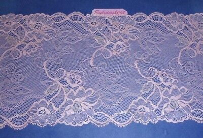 1.80  metres of Soft and Delicate  Dusty Pink  Stretch lace     18 cm  wide