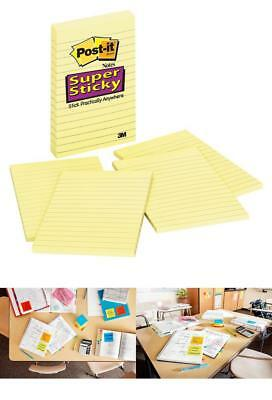 Post-It Super Sticky Notes 4 In X 6 In Canary Yellow Lined 4 Pads/Pack 45 She...