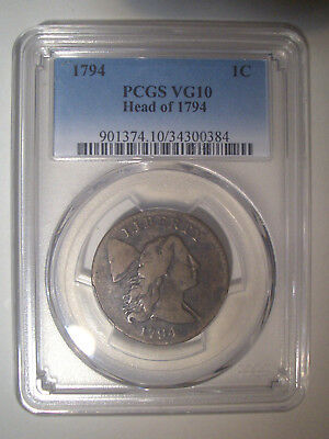 1794 Head of 1794 * PCGS VG10 * FLOWING HAIR LARGE Cent 1c * $890++ Lt Chocolate