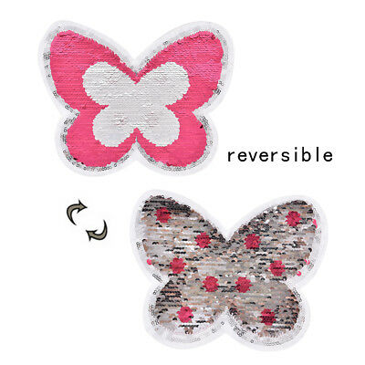 butterfly applique sewing sequin embroidery shirt clothes patch reversible PipHG